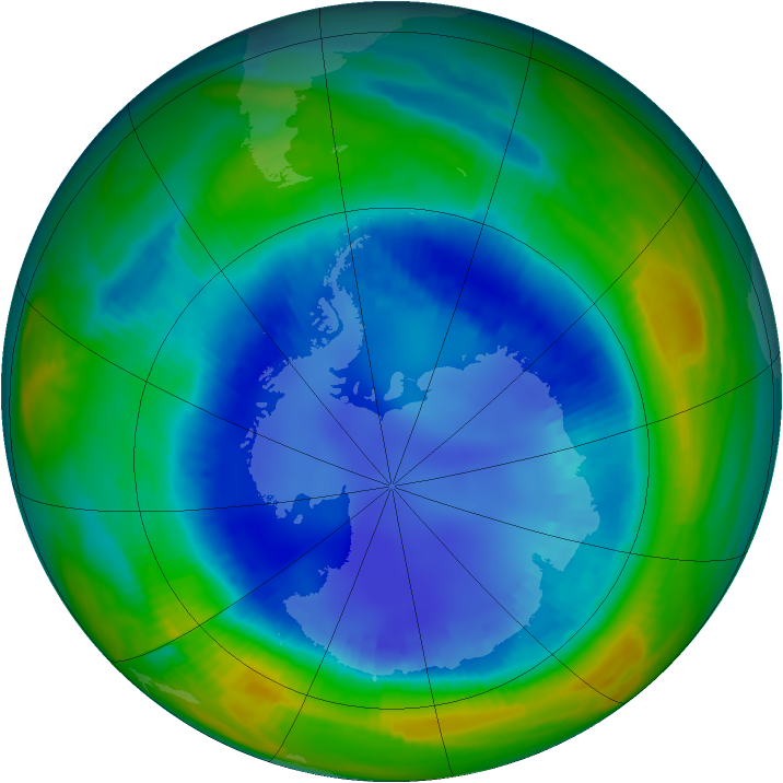Antarctic ozone map for 20 August 1999